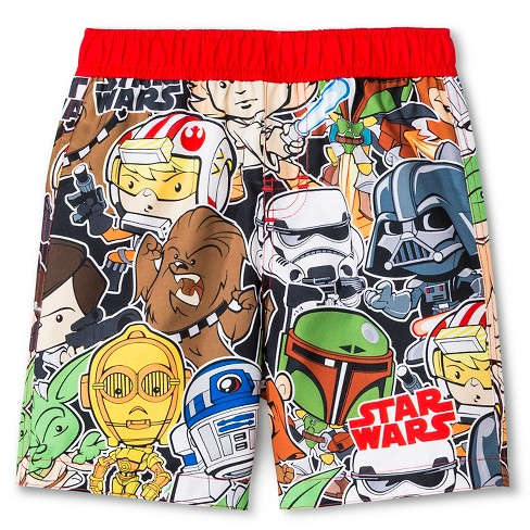 Toddler Boys' Star Wars Swim Trunk - Red 3T - image 1 of 2