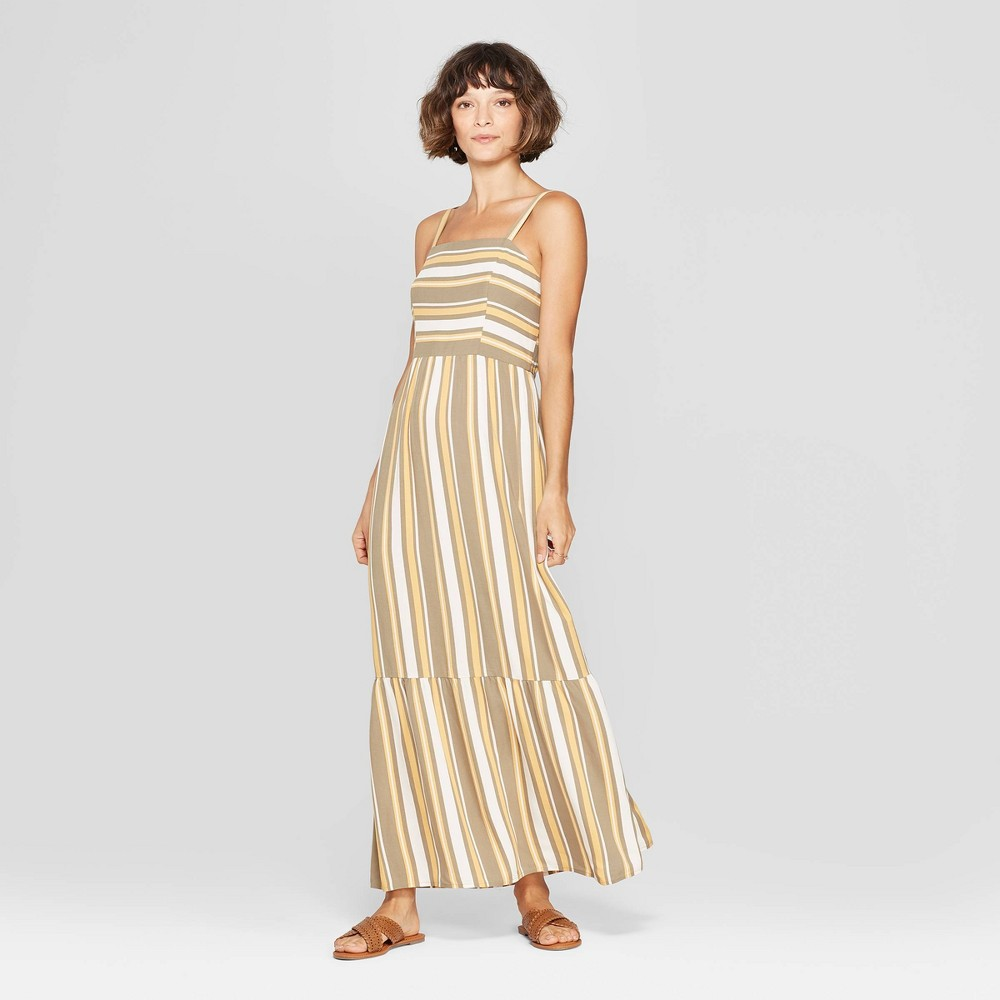 Women's Striped Strappy Tiered Maxi Dress - Xhilaration Ivory L, Green