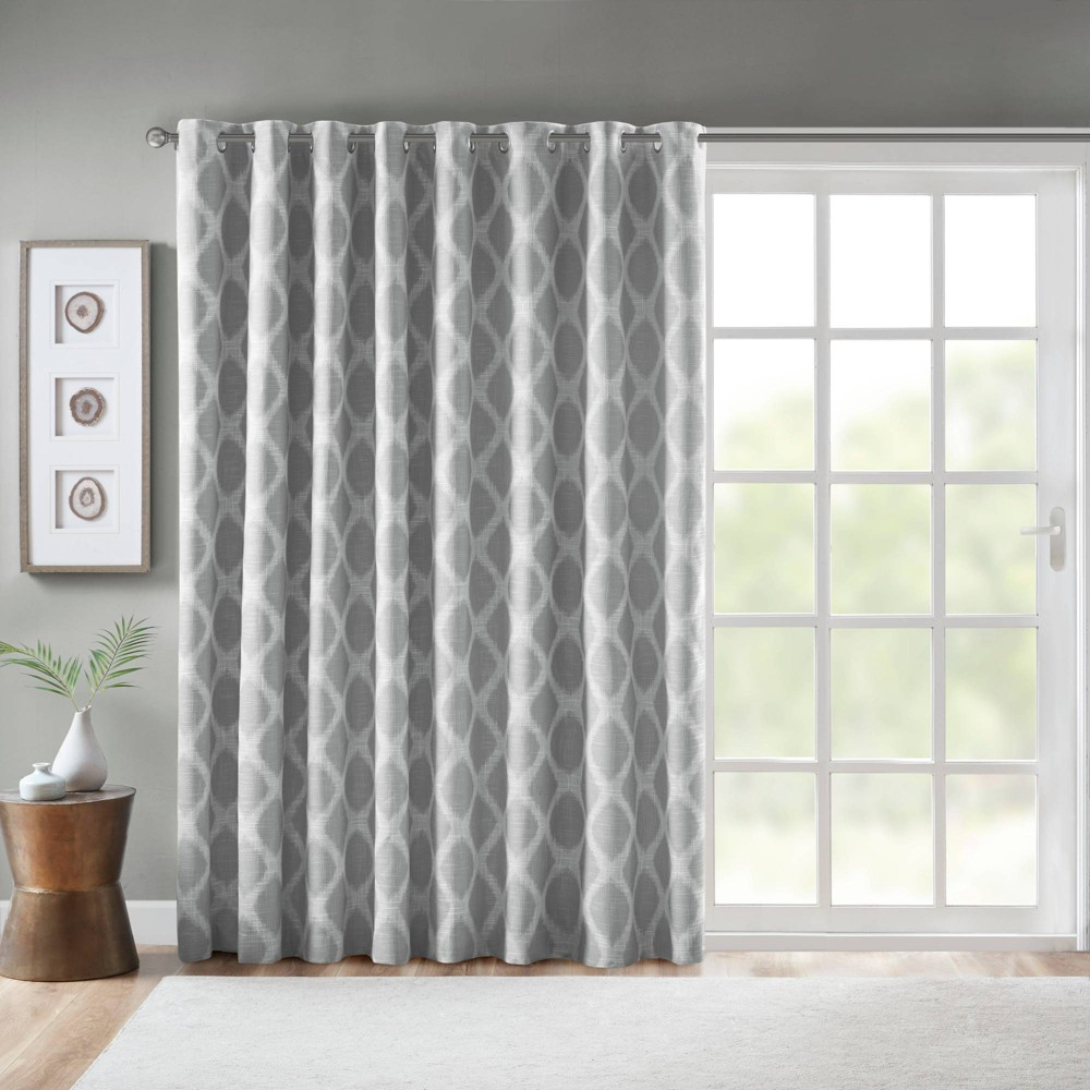 """Image of """"100""""""""X84"""""""" Etro Printed Ikat Blackout Extra Wide Curtain Gray"""""""