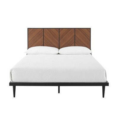 Queen 4 Panel Metal and Wood Platform Bed - Saracina Home
