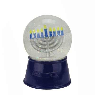 "Northlight 5.5"" Hanukkah Holiday Snow Globe Glitter Dome with Menorah - Blue/Clear"