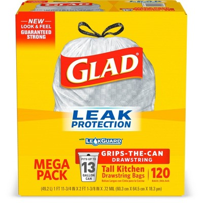 Glad Tall Kitchen Drawstring Trash Bags - 13 Gallon Gray Trash Bag - 120ct