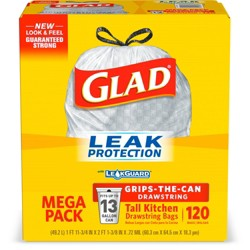 Glad Tall Kitchen Drawstring Trash Bags - 13 Gallon
