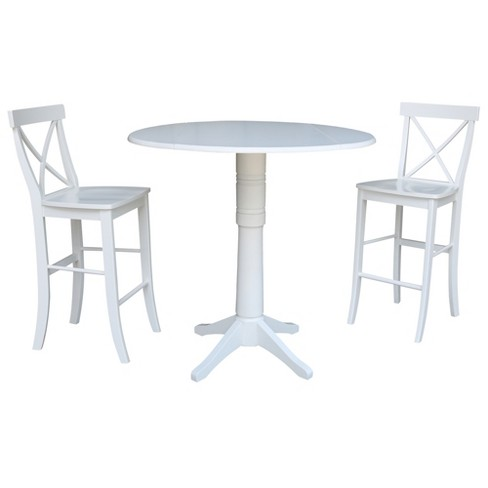 42 Round Top Bar Height Drop Leaf Table With 2 Bar Height Stools