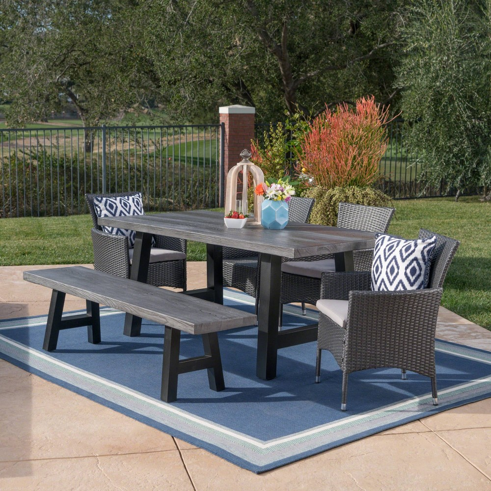 Sina 6pc Wicker and Light Weight Concrete Dining Set - Gray/Silver - Christopher Knight Home