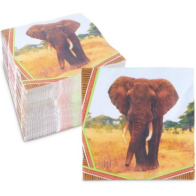 Sparkle and Bash 150 Pack Elephant Animal Luncheon Disposable Napkin Napkins Jungle Safari Birthday Party Supplies