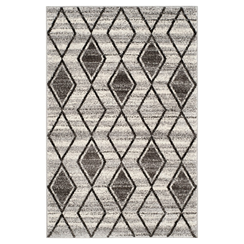 Gray/Black Abstract Loomed Area Rug - (4'x6') - Safavieh