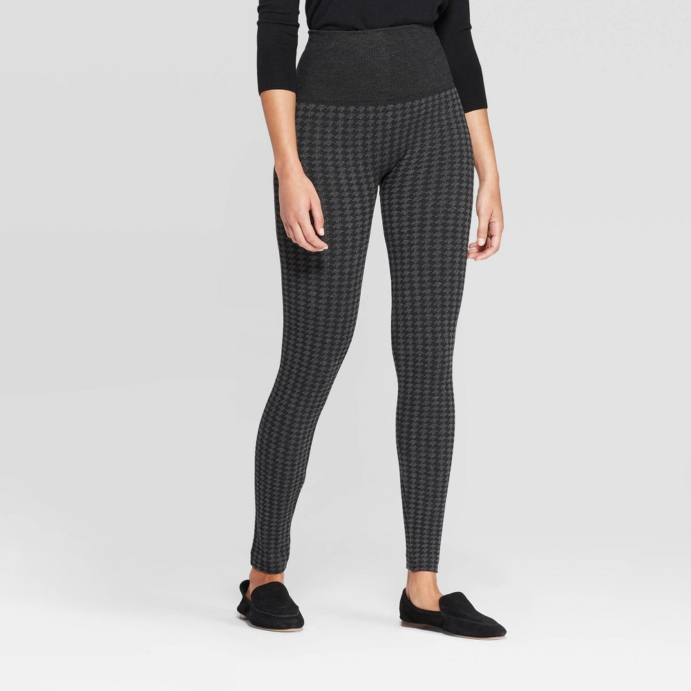Image of Women's Seamless High Waist Houndstooth Sweater Leggings - A New Day Black/Charcoal L/XL, Size: Large/XL, Gray