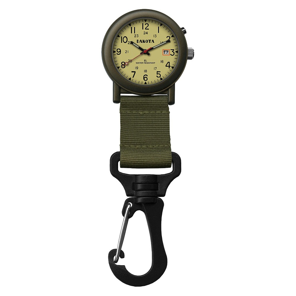 Image of Men's Dakota Light Backpacker Clip Watch - Olive, Size: Small, Green