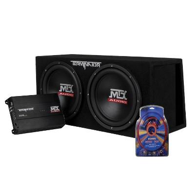 MTX TNP212DV 12-Inch 2000-Watt Dual Loaded Subwoofer Enclosure with Amplifier with QPower Super Flex 4 Gauge 3000 Watt Amplifier Wiring Amp Kit