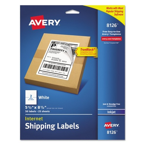 Avery® 08126, Shipping Labels with Ultrahold & TrueBlock, Inkjet, 5 1/2 x 8 1/2, White, 50/Pack - image 1 of 3