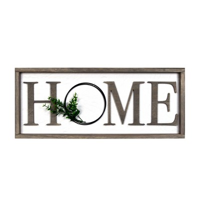 "25"" x 10"" Home Barnwood Wall Panel with Greenery Whitewashed - Prinz"