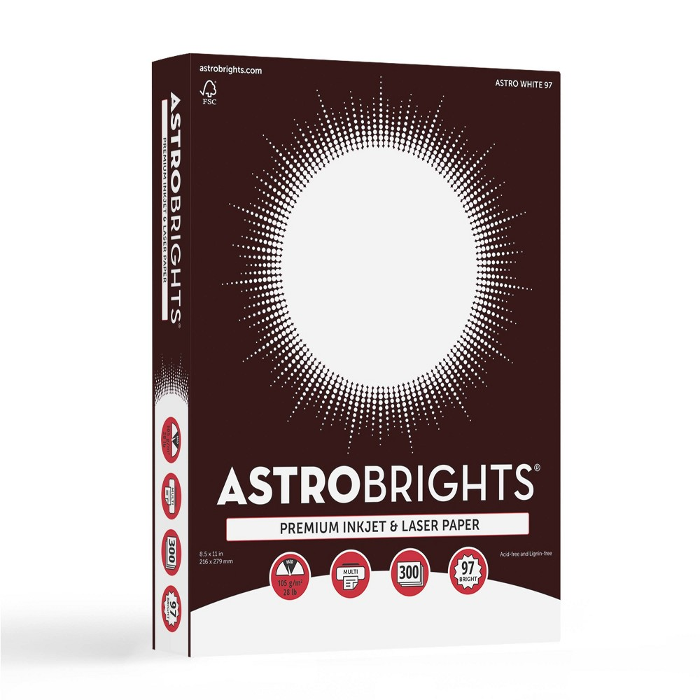 Image of 300ct Astrobrights Copy Paper - Bright White