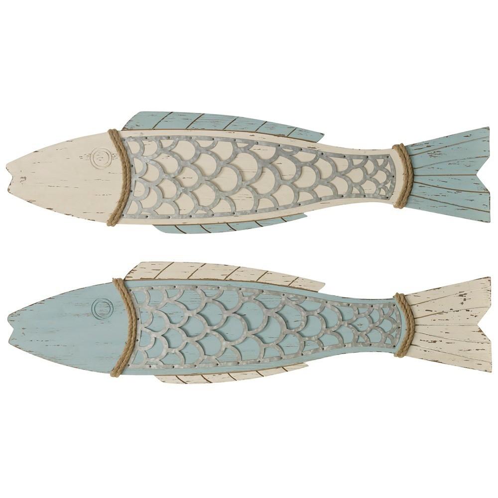 """Image of """"11"""""""" 2pc Couple Fish Wood Decorative Wall Art - StyleCraft"""""""