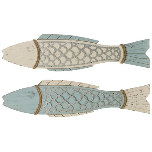 "11"" 2pc Couple Fish Wood Decorative Wall Art - StyleCraft - image 1 of 3"