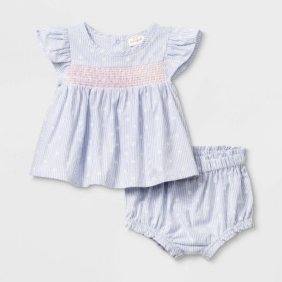 Baby Girls' Smocked Top & Bottom Set - Cat & Jack™ Blue 12M