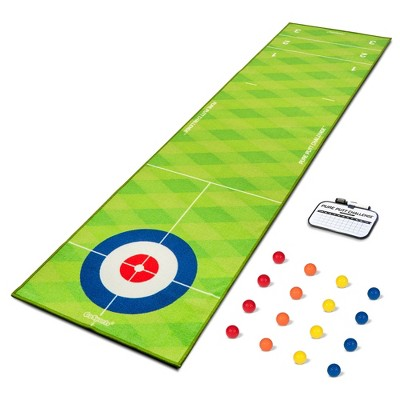 GoSports 2 In 1 10 Foot Shuffleboard Curling Combination MIni Golf Rug Game Challenge Set with 16 Golf Balls and Dry Erase Scoreboard