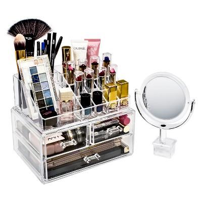 Sorbus Makeup Storage Organizer With Magnifying Mirror