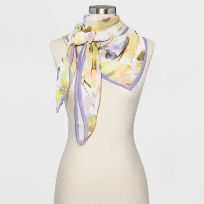 Women's Floral Print Square Crepe Scarf - A New Day™ Purple  One Size