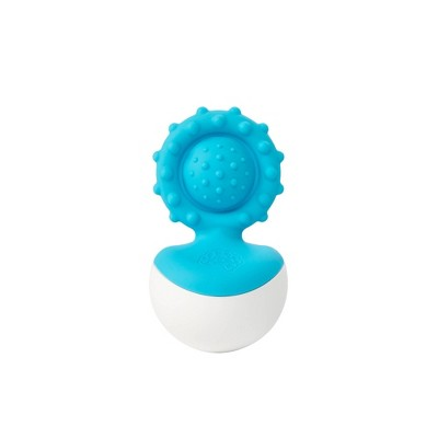 Fat Brain Toys Baby Rattle Dimpl Wobl - Blue