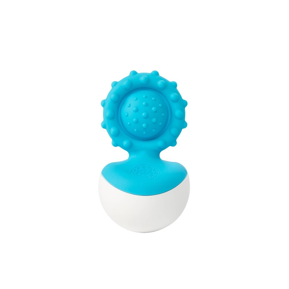 Image of Fat Brain Toys Baby Rattle Dimpl Wobl - Blue