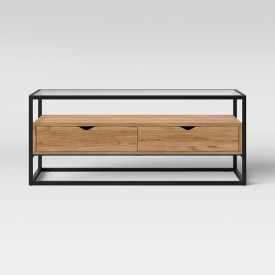 Ada Mixed Material Coffee Table with Glass Top - Project 62™