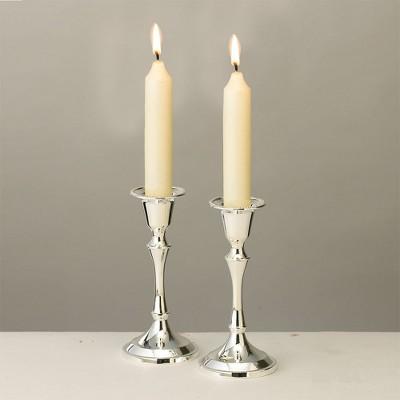 "Rite Lite 5.25"" Sabbath Plated Candle Stick Set - Silver"