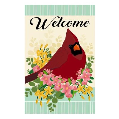 Evergreen Flag Spring Floral Cardinal Garden Linen Flag