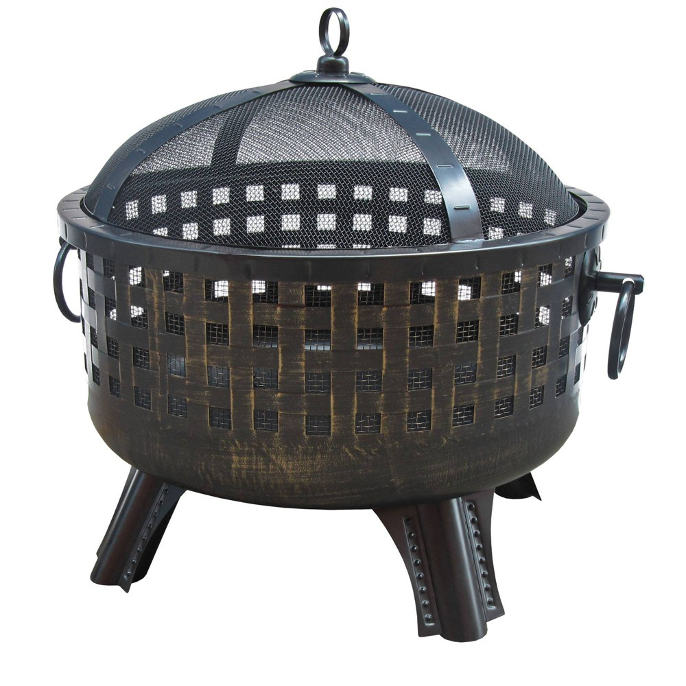 "Image of ""26"""" Garden Lights Savannah Wood Burning Fire Pit - Antique Bronze- Landmann"""