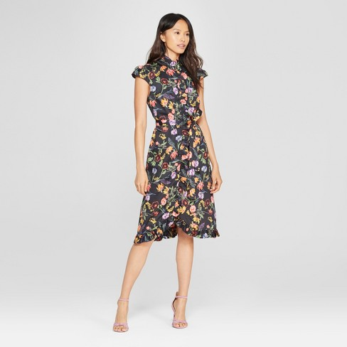 Womens Button Down Frilled Dress Who What Wear Target
