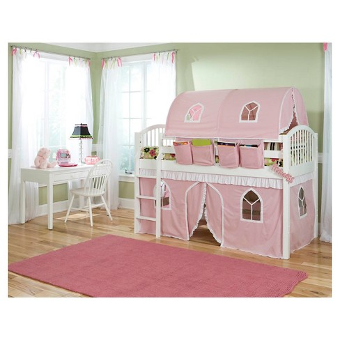 "74"" Junior Loft Bed Twin Hardwood Pink - Alaterre Furniture® - image 1 of 2"