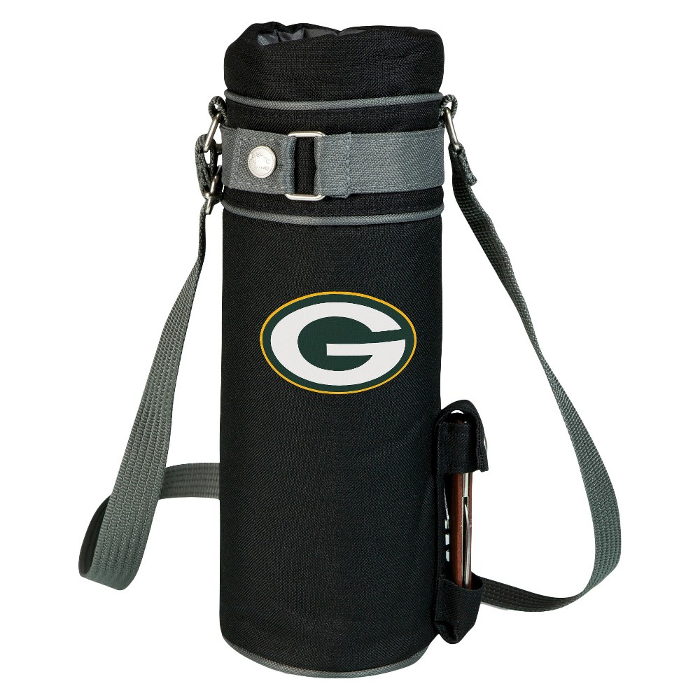 Green Bay Packers - Wine Sack Beverage Tote by Picnic Time (Black) Those who enjoy wine will appreciate the style and simplicity of the Wine Sack, an insulated single-bottle tote with an adjustable shoulder strap. It features a stainless steel waiter-style corkscrew conveniently stored in its own secure pocket. The Wine Sack is made of polyester canvas with complementing brown trim. The tote is fully-insulated to keep your wine at the perfect temperature until you're ready to uncork it. Perfect for any occasion. When you'd like to bring your own wine to share, let the Wine Sack help you take it there! Color: Green Bay Packers.