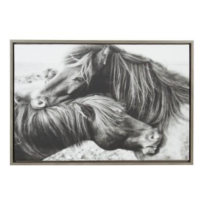 Kate & Laurel 33 x23  Sylvie Mustang Love And Animal Print Framed Wall Canvas Gray