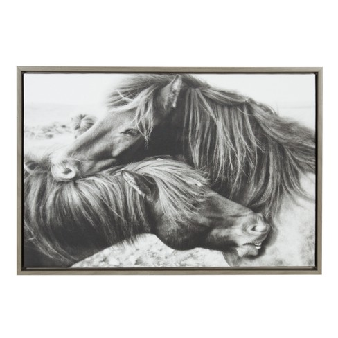 """Kate & Laurel 33""""x23"""" Sylvie Mustang Love And Animal Print Framed Wall Canvas Gray - image 1 of 5"""