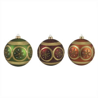 """Sterling 3ct Glittered Floral Shatterproof Christmas Ball Ornament Set 4.75"""" - Gold/Green"""