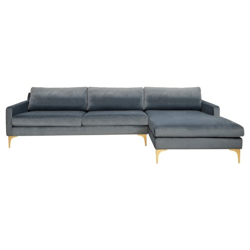 Remarkable Brayson Chaise Sectional Sofa Dusty Blue Safavieh Inzonedesignstudio Interior Chair Design Inzonedesignstudiocom