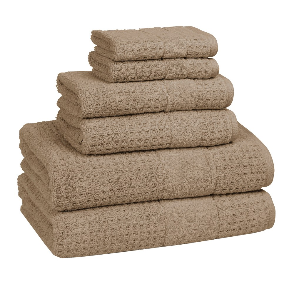 Image of 6pc Checkered Bath Towel Set Marble Tan - Cassadecor