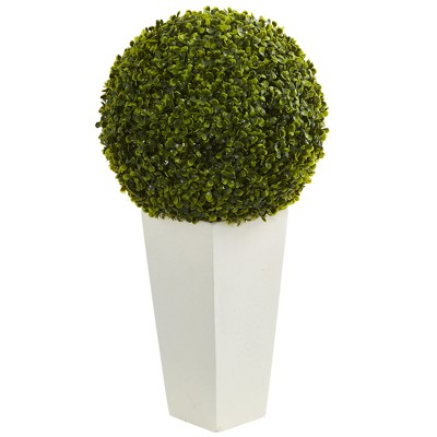 "28"" Boxwood Topiary Ball Artificial Plant In White Tower Planter - Nearly Natural"