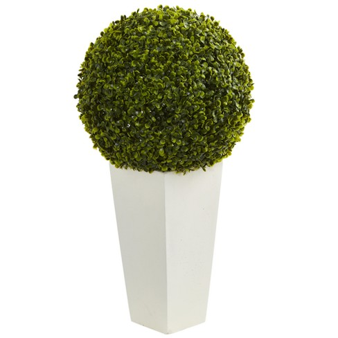 28 Boxwood Topiary Ball Artificial Plant In White Tower Planter Nearly Natural Target