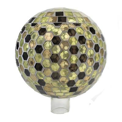 """Home & Garden 10.0"""" Honeycomb Gazing Ball Mosaic Glass Evergreen Enterprises Inc  -  Outdoor Sculptures And Statues"""