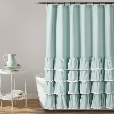 72 x72  Ella Lace Ruffle Shower Curtain Blue - Lush Decor®
