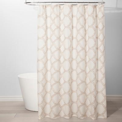 Neutral Grid Shower Curtain Beige - Threshold™