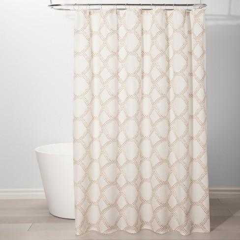 Neutral Grid Shower Curtain Beige