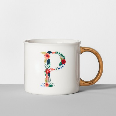 Monogrammed Porcelain Floral Mug P 16oz White/Gold - Opalhouse™