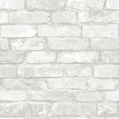 Nuwallpaper Brick Peel Stick Wallpaper White Gray Target