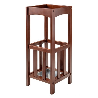 Rex Umbrella Stand with Metal Tray Walnut/Metal - Winsome