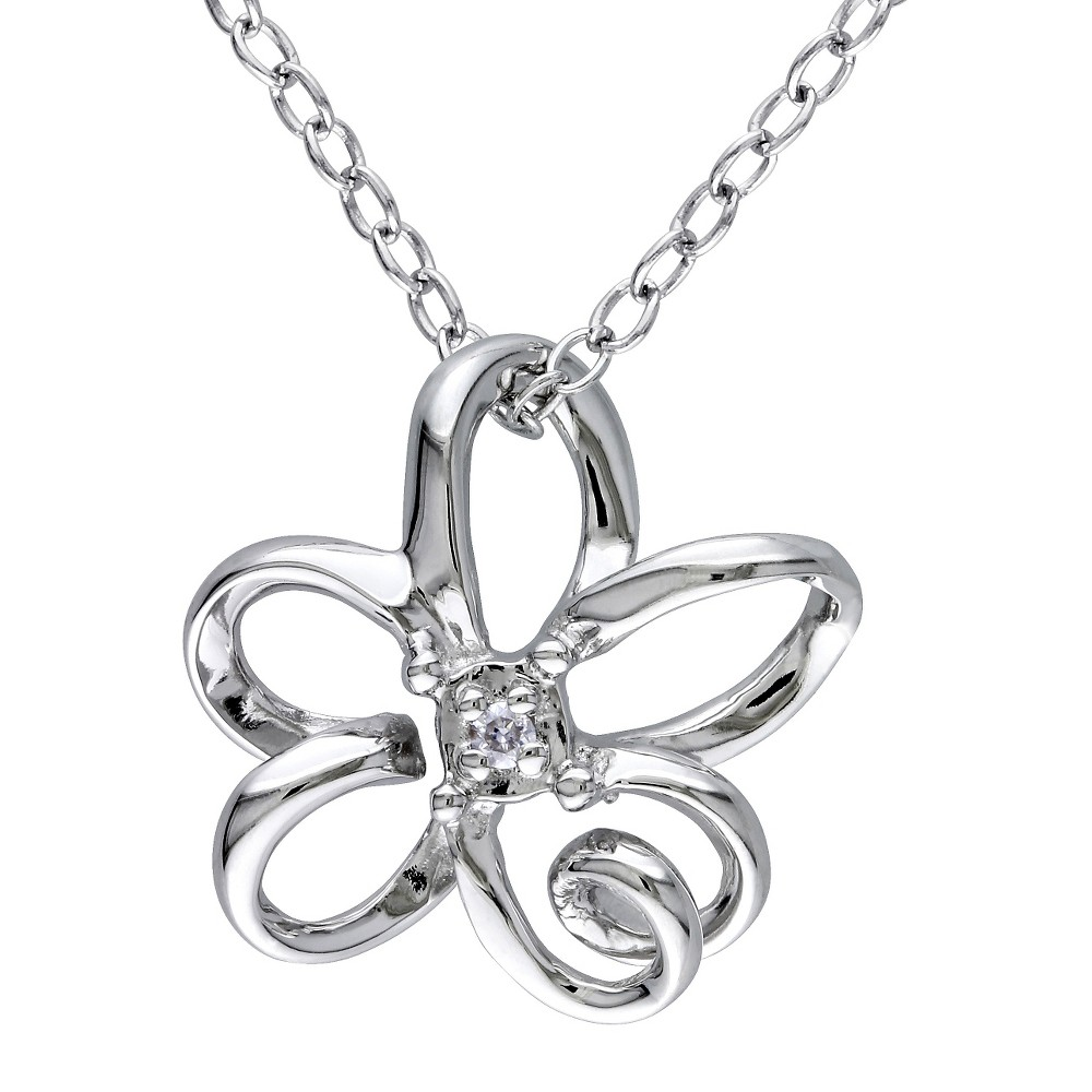 Image of 0.01 CT. T.W. Diamond Flower Pendant Necklace in Sterling Silver - I2:I3 - White, Women's
