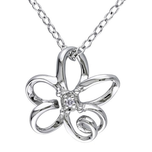 0.01 CT. T.W. Diamond Flower Pendant Necklace in Sterling Silver - I2:I3 - White - image 1 of 1
