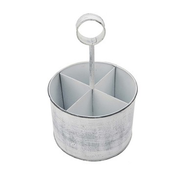MIND READER Utensil Caddy [4 Triangular Compartments] (WHITE PAINT)