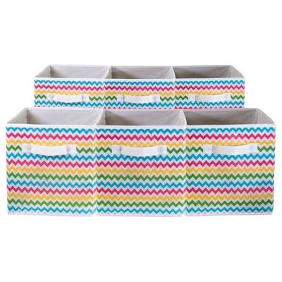 Sorbus 6pk Storage Bins Chevron Colored Pattern